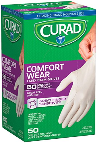 Curad Powder-Free Latex Exam Gloves-50 ct