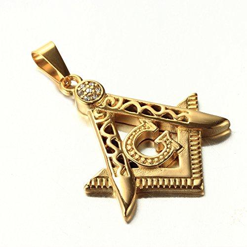 LANCHENEL Männer Titan Stahl Gold-Überzug Gold Freimaurer Anhänger Halskette