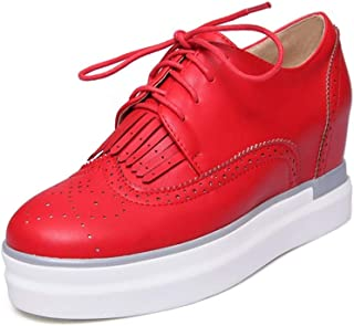 Bonrise Women's Round Toe Tassel Platform Wedge Oxfords Shoes Wingtip Lace Up Chunky High Heel Dress Shoes