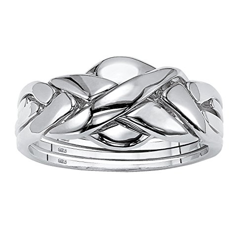 Platinum over Sterling Silver Interlocking Puzzle Ring Size 7