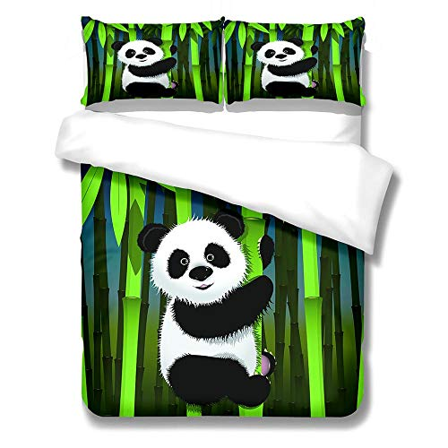 SKYZAHX Duvet cover for teen boys and girls microfiber duvet Giant panda Soft, skin-friendly and comfortable 3D printed duvet cover with duvet cover 86 X 102 inch 2 pillowcases 20 x 28inch