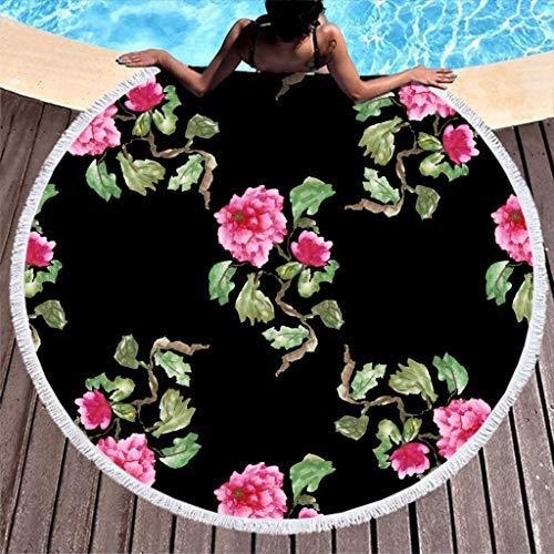 Gamoii Rund Strandtuch Badetuch Rosa Blumen Pflanze Picknickdecken Strandmatte Mikrofaser Handtücher Sand Proof Reisehandtuch mit Fransen für Damen Herren Spa Yoga Sport White 150cm