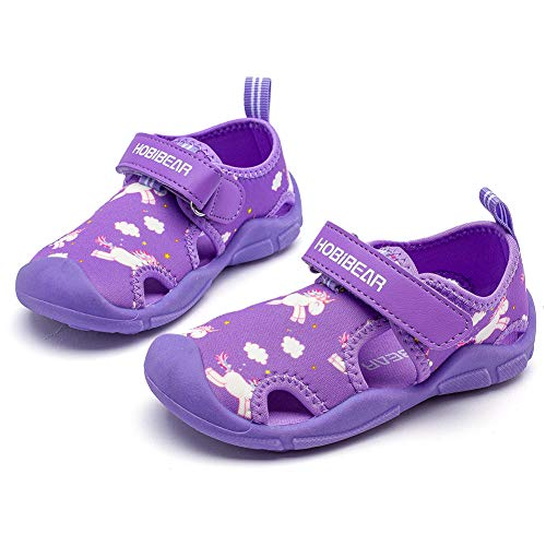 HOBIBEAR Toddler Boys Girls Water Shoes Quick Dry Closed-Toe Aquatic Sport Sandals (Purple,7.5 Toddler)