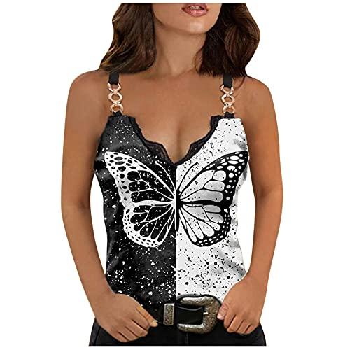 L9WEI Camiseta de tirantes para mujer, para verano, sexy, sin mangas, con estampado de mariposas y cadena, cuello en V, camiseta de verano, moda callejera, Mujer, Negro , medium