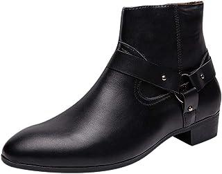 Bottines Homme Cuir Mode Pas Cher Grand Taille Boots à Talon Plates Chelsea Bottes Court Automne Hiver Vintage Hautes Chau...