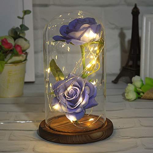 GPWDSN Rose glaslicht, LED-licht in glazen pot op een houten sokkel handgemaakte romantische liefde Forever cadeau voor bruiloft Valentijnsdag verjaardag