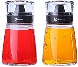 Juvale 5,5 oz Aceite y vinagre vinagreras - Cristal dispensadores de Aceite y vinagre con Tapas de Cierre - 2 pc Set