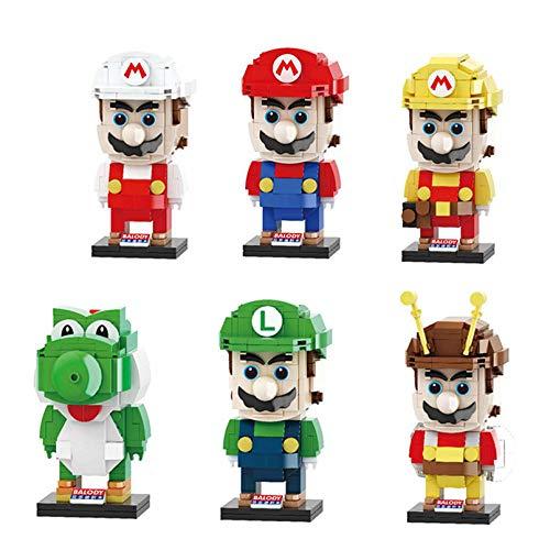 LNLJ 6 bloques de construcción de Mario Bros Super Yoshi modelo Ladrillos Headz Mini figura para juguetes de niños