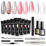 TOMICCA 8PCS 15g Polygel Kit Complet Top Coat Base Gel...