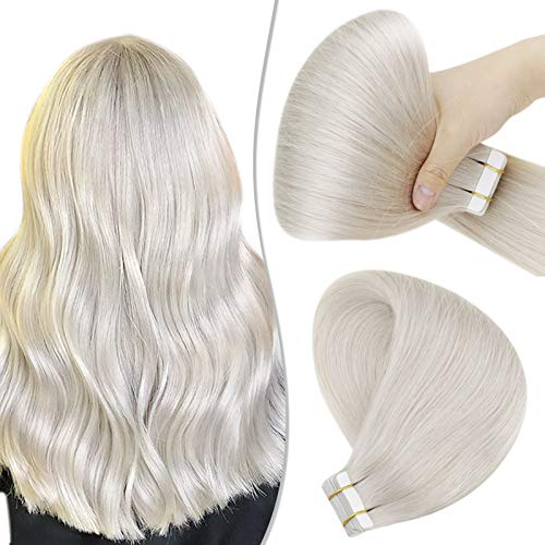 Hetto Tape in Hair Extensions Real Hair Natural 40Pcs 100G #60 White Blonde Tape in Human Hair Extensions Real Hair Glue in Extensions for Short 18 Inch