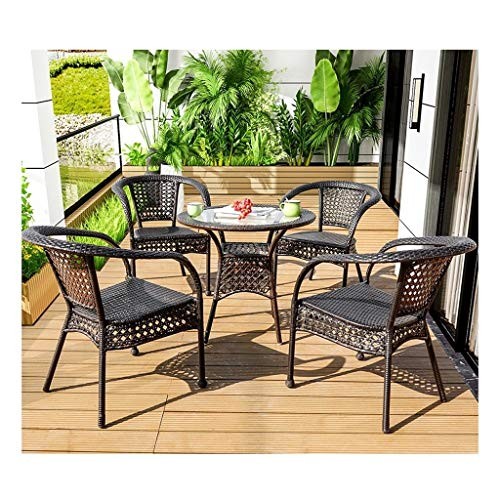BDBT Rattan Garden Furniture Sets Outdoor Furniture Garden Table and Chairs Set Glass Top Coffee Table Patio Set for Outdoor Garden Poolside