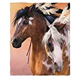 Moslion Soft Cozy Throw Blanket Native American Indians Horses Fuzzy Warm Couch/Bed Blanket for Adult/Youth Polyester 60 X 80 Inches(Home/Travel/Camping Applicable)
