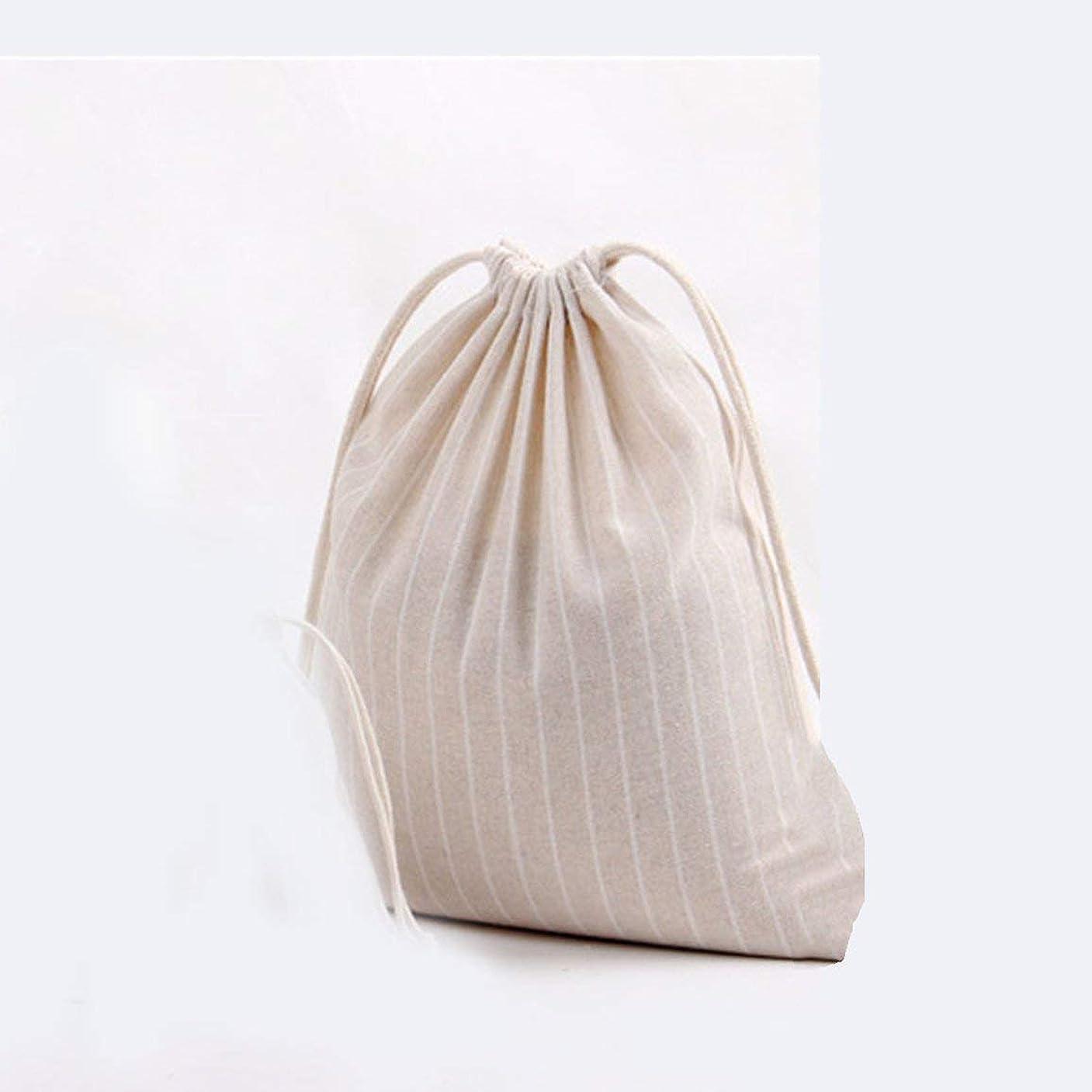 唇近似私達ストライプコットンバッグギフトキャンディティー巾着ポーチストレージバッグオーガナイザーバギーバッグポケットホルダーコンテナーホップポケット-ベージュM