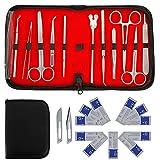 Kit de disección avanzada de 22 piezas, juego de disección de anatomía de laboratorio de biología para estudiantes de medicina y veterinaria con hojas de mango de cuchillo de bisturí de acero inoxid