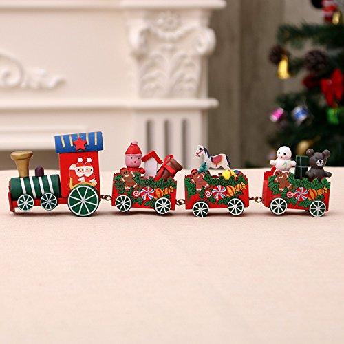 LEMESO Trenino Natale Legno Mini Treno Decorazioni Ornamenti della Casa Regalo Natalizio per Bambini...