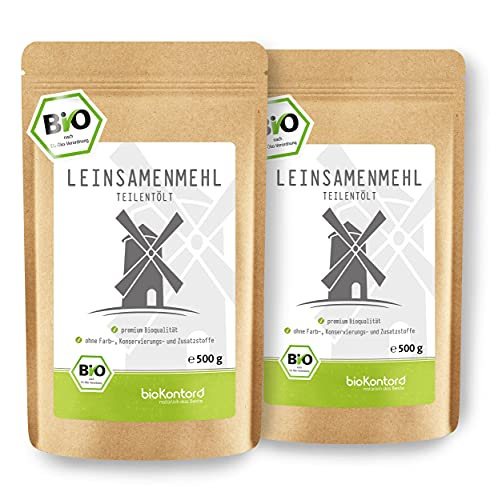 bioKontor lijnzaadmeel | Voor shakes, smoothies of bakken | Inhoud: 2 x 500 g