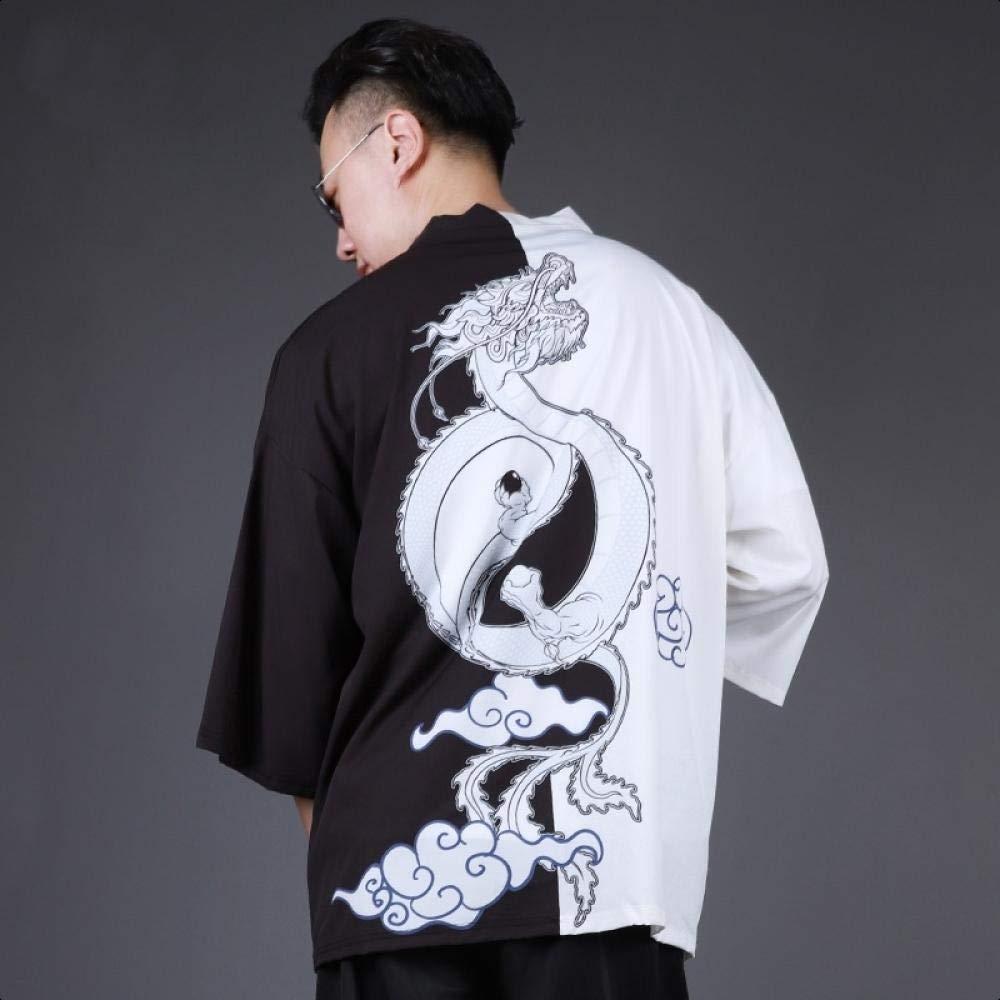 Hombres Yukata Haori Japonesa Kimono Hombres Chaqueta De Punto Samurai Kimono Hombre De La Chaqueta Kimono Camisa De La Ropa Traje Yukata Haori Kansa (Color : Black, Size : XXL): Amazon.es: Hogar