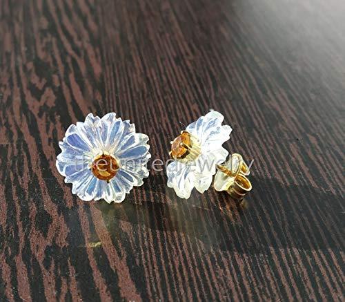 Designer Citrine Flower Stud Silver Handmade Denver All items in the store Mall Sterling Earrings