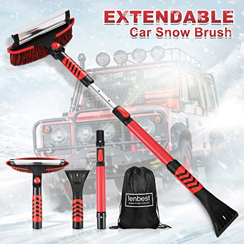 lenbest Snow Brush for Car, 43   Extendable Snow Brush with Squeegee & Ice Scraper 3 in 1 Car Snow Scraper and Brush with Foam Grip 180°Pivoting & Detachable Snow Removal for Car Auto SUV Truck