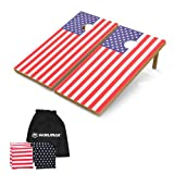 WIN.MAX Corn Hole Outdoor Game USA Stars and Stripes: 2 Regulation Solid Wood Cornhole Boards and 8 Bean Bags, 2'x4' Ft