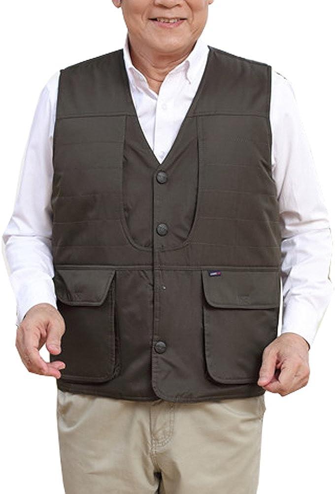 Only Faith Men's Fleece Sleeveless Waistcoat Multi Pockets Photography Outdoor Jacket Vest