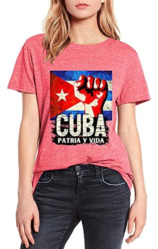 Cuba Patria y Vida Vintage Verano Mujer Camisa Rosa Top Tee Novedad...