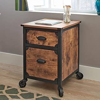 Rustic Country File Cabinet, Weathered Pine Finish