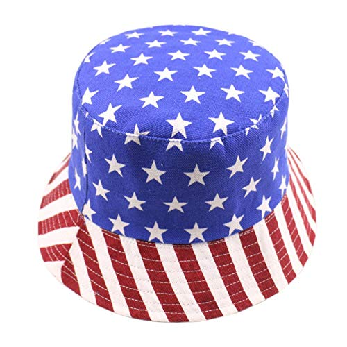 Bucket Hat Chapeau Two Sides Reversible Navy Striped Star Fisherman Hats Bucket Caps Homme Americanflag