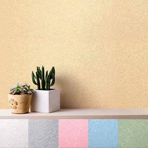 Wandaufkleber Seidenmuster Tapete selbstklebende Möbelfolie 0.61 * 5M PVC Klebefolie wasserfest Dekorfolie für Schlafzimmer Wohnzimmer Küche Sohp Büro DIY (Hellgelb)