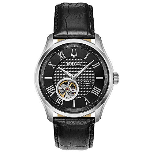 Bulova Classic Automatic Mens Stainless Steel with Blue Leather Strap, Silver-Tone (Model: 96A217)