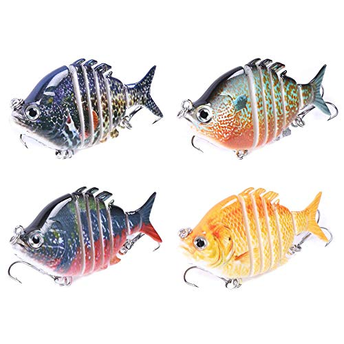 VOANZO 4 PCS Fishing Lures Multi Jointed Artificial Hard Bait Swimbaits Lures Bionic Swimming Lures Lifelike Slow Sinking Lure Fishing Kit for Pike Bass Trout