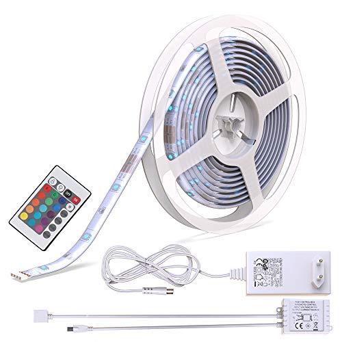 Striscia a LED RGB dimmerabile, lunga 5m, cambia colore con telecomando, illuminazione notturna da interno e da esterno IP44/IP20, luci colorate, striscia in plastica bianca, adesiva, 150 LED