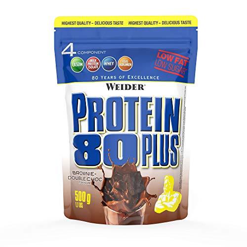 WEIDER Protein 80 Plus Eiweißpulver, Brownie-Double Choc, Low-Carb, Mehrkomponenten Casein Whey Mix für Proteinshakes, 500g