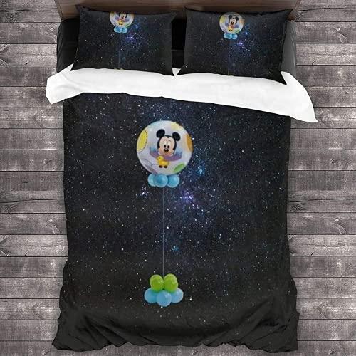 NBAOBAO Juego de ropa de cama de Mickey Mouse, juego de funda de edredón de fácil cuidado, suave y cálido, fans de Anime (ratón de 2,135 x 200 cm + 50 x 75 cm x 2)