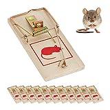 Relaxdays, Marrón, Pack de 12 Trampas Ratas y Ratones Reutilizables, Madera y Metal, 2 x 10 x 4,5 cm, 11