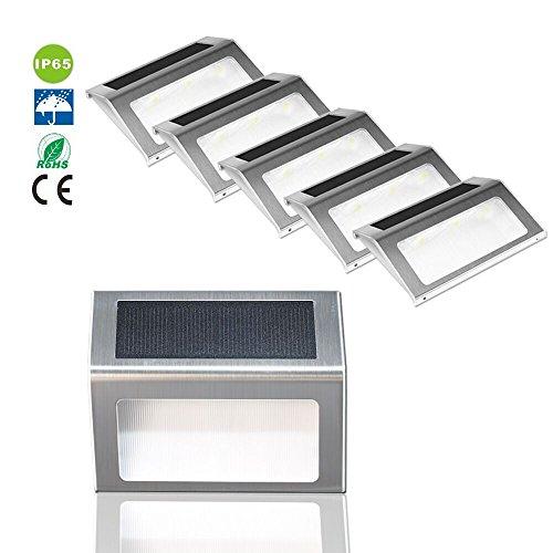 Liqoo 6 x Lampada Solare da Parete LED in Acciaio Segnapasso per Scale e Giardino Pareti Wireless Impermeabile IP44