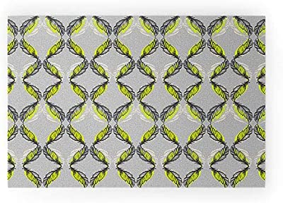"""Society6 Pattern State Feather Pop Welcome Mat, 30"""" x 20"""", Green"""