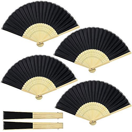 Abanicos Plegables,4 Piezas Abanicos de Mano Plegable Seda de Bambú Abanicos para...