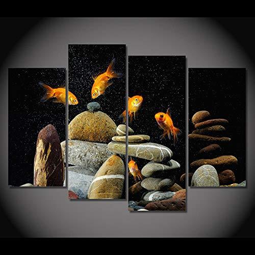 WENJING 4 panelen canvas kunst canvas schilderkunst vis aquarium stenen  Hd gedrukt muurkunst poster wooncultuur foto's voor de woonkamer 30X60Cmx2 30X80Cmx2 geen lijst