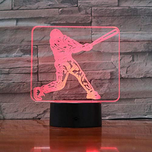 3D LED Sleep Lamp Baseball playerUSB 7 Colors Touch Sensor Child Kids Gift Table Lamp Desk Decoration-16 colors remote