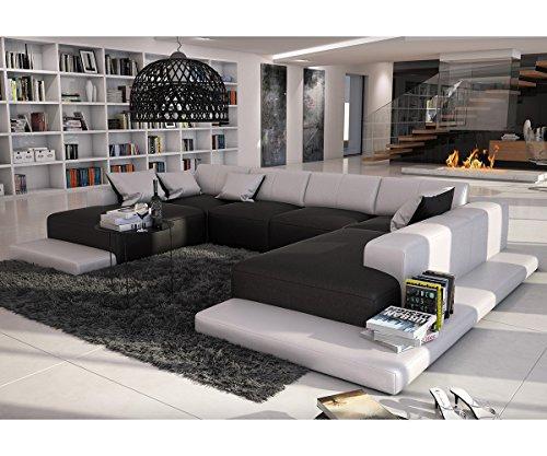 Couch Bethany Schwarz Weiss 360x271 cm Ottomane rechts Wohnlandschaft