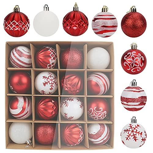 2 palline di Natale opache appositamente formate, 2 pitture opache, 2 palline bianche rosa, 2 palline rosse rosa, 4 dipinti bianchi, 2 rossi opachi, 2 decorazioni per albero di Natale