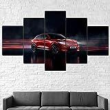 WJTYX Cuadro En Lienzo 5 Piezas Ford Mustang Mach-E X 2020 Coche Mural 5 Piezas Inicio Decoración Lienzos Listo para Colgar Cuadros de 5 Piezas en Lienzo 150x80cm