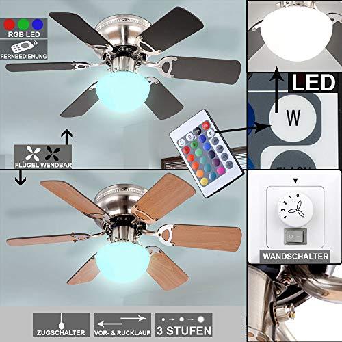etc-shop Decken Ventilator Lüfter Lampe Farbwechsler dimmbar im Set inklusive Wandschalter und RGB LED Leuchtmittel