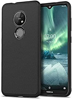 CRISTY-Fitted Cases - For Nokia 7.2 6.2 Case Silicone Slim Non-slip Texture Carbon Fiber Soft TPU Back Cover For Nokia 7.2...