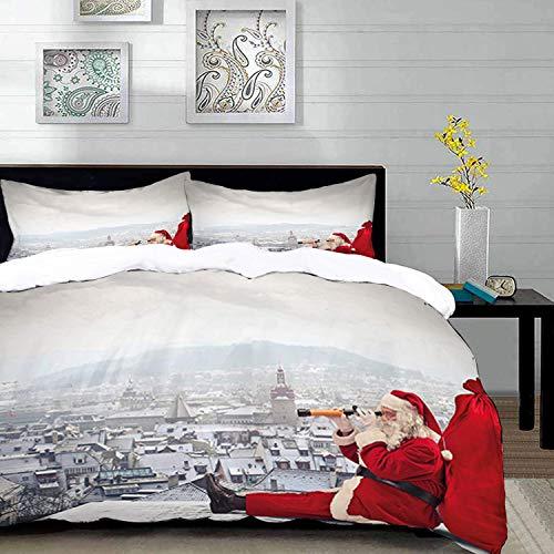 Yaoni ropa de cama de la cubierta del Duvet, Navidad, Santa Claus sentado en la azotea que mira a través de los prismáticos nublado paisaje urbano, azul Blac, Microfibr