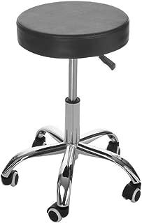 Office Swivel Chairs, Inkach Adjustable Hydraulic Rolling Swivel Salon Stool Chair, Tattoo Massage Facial Spa Stool Round Seat (Black)