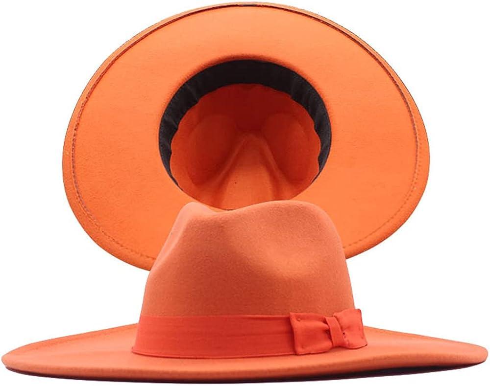 Avilego Women Fedora Hats with Wide Brim Ribbon Bow Jazz Hat Felt Panama Hat