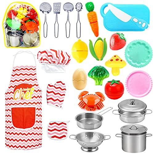 HapeeFun 25Piezas Juguetes de Cocina para niños,Juguetes para Corte de Frutas y Vegetales,Utensilios de Cocina Culinario Cocina de Juguete,Delantal y Gorro De Cocinero,Juguetes de Chef para Niños 3+