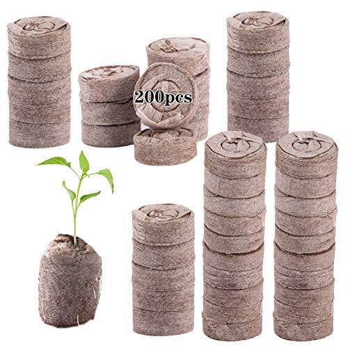 200 Pcs Peat Pellet- 30mm Plant Starter Compressed Nutrient Fertilizer Fiber Soil Block Plant...